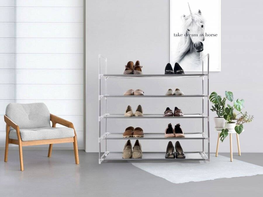 5 Tier Large Capacity Metal Shoe Organizer With Non Woven Cover - Grey