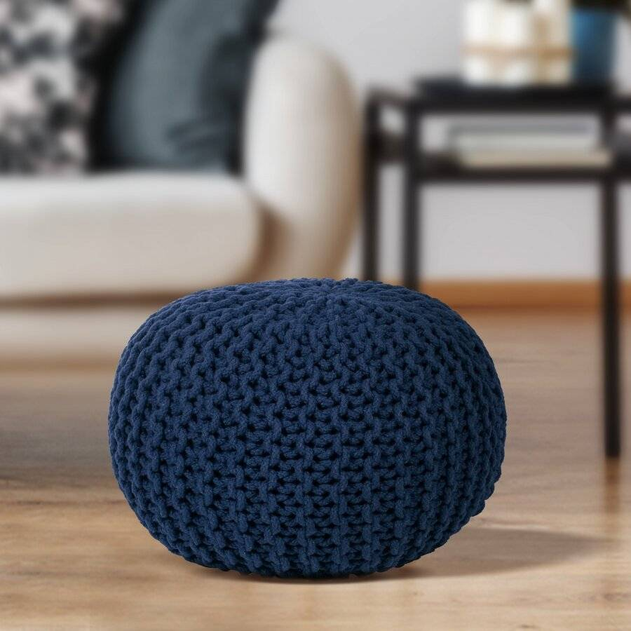EHC Hand Knitted Chunky Double Braided Cotton Pouffe - Navy Blue