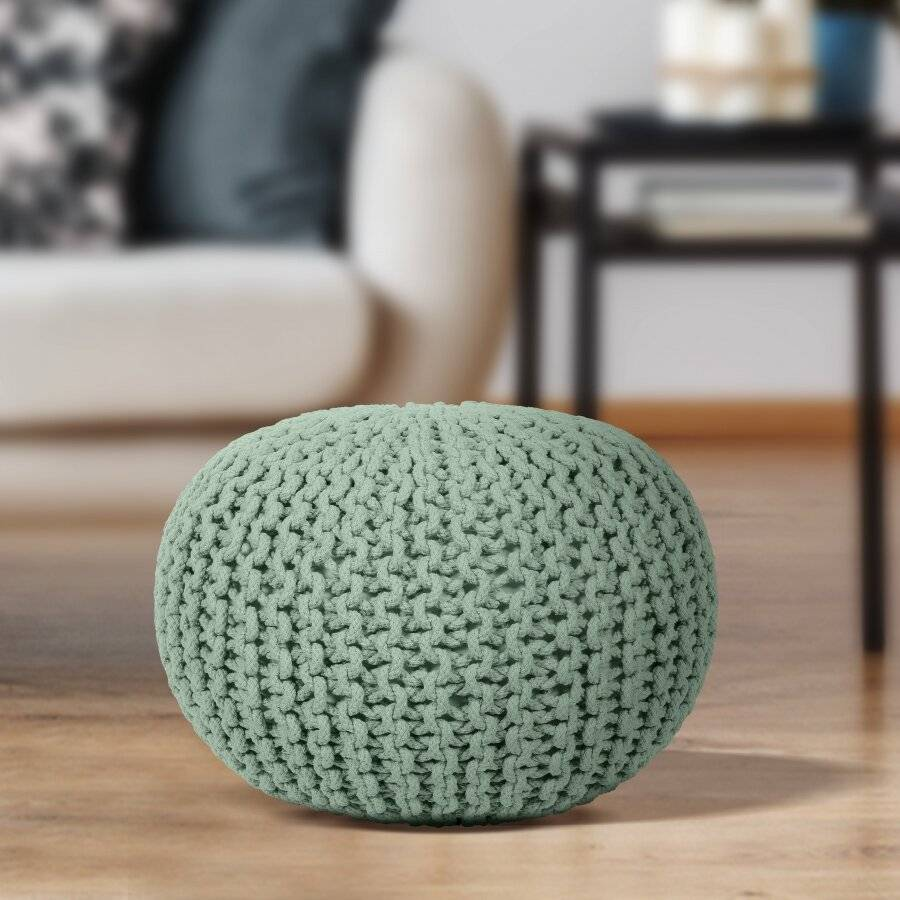 EHC Hand Knitted Chunky Double Braided Cotton Pouffe - Sage