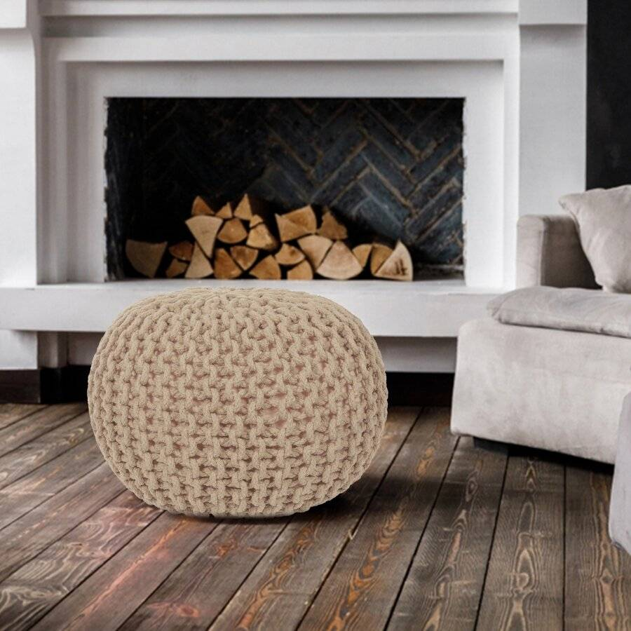 EHC Hand Knitted Double Braided Cotton Pouffe - Cappuccino