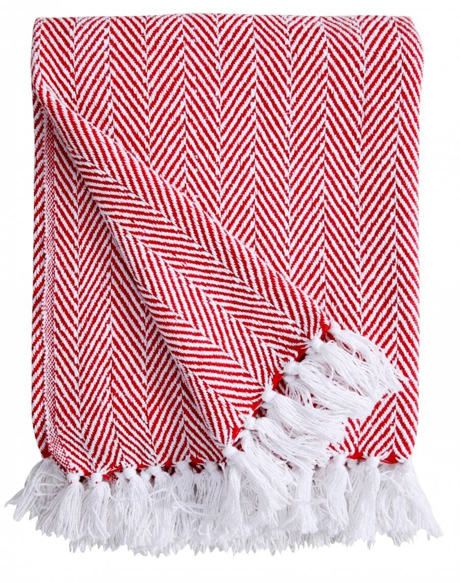 EHC Herringbone Throws For Sofa Armchair or Single Bed - Red