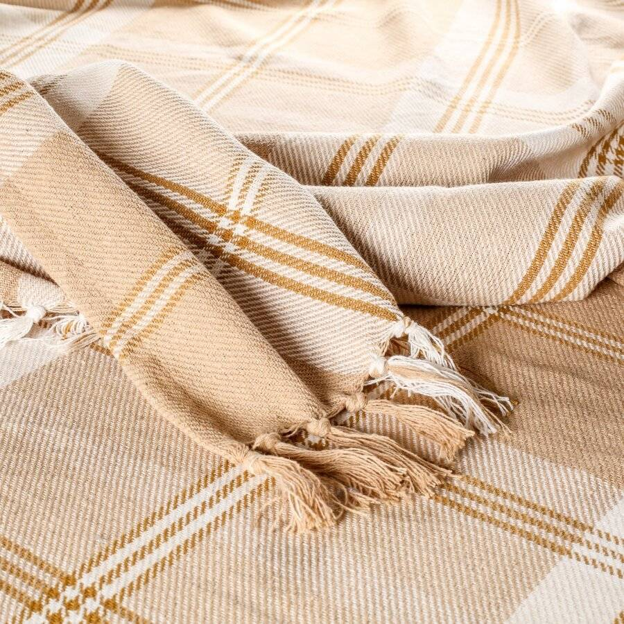 EHC Highland Large Cotton Throw For Bed, Sofa or Armchair, Beige