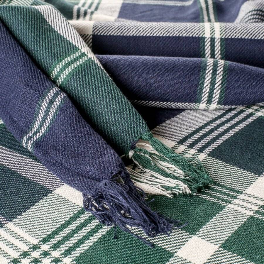 EHC Highland Large Cotton Throw For Bed, Sofa or Armchair, Navy Blue