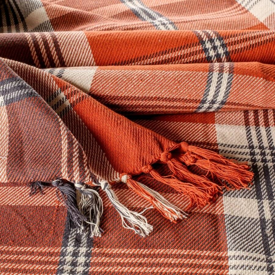 EHC Highland Large Cotton Throw For Bed, Sofa or Armchair, Spice