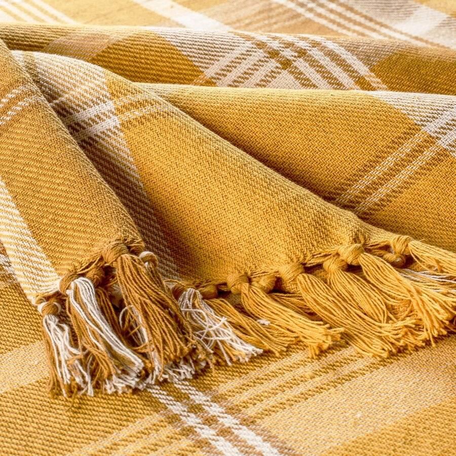 EHC Highland Large Cotton Throw For Sofa, Double Bed, Armchair - Ochre