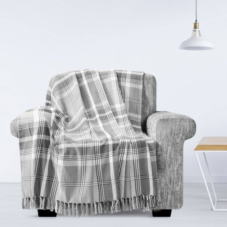 EHC Highland Large Cotton Throw For Sofa, Double Bed or Armchair, Grey