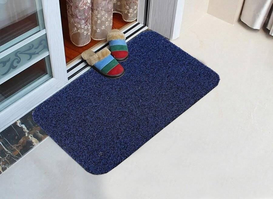 Long Wearing PVC Vinyl Backed Entrance Doormat - Navy Blue & Black