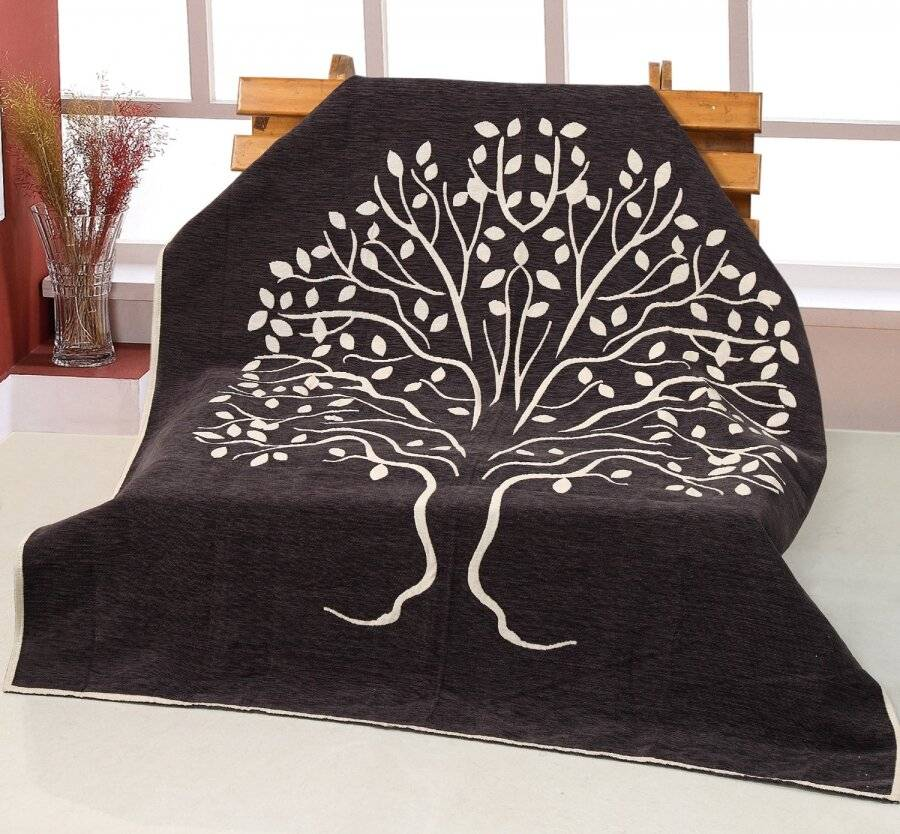 Jacquard Infinity Tree Throw for sofa Bed throw, 127 x 152cm