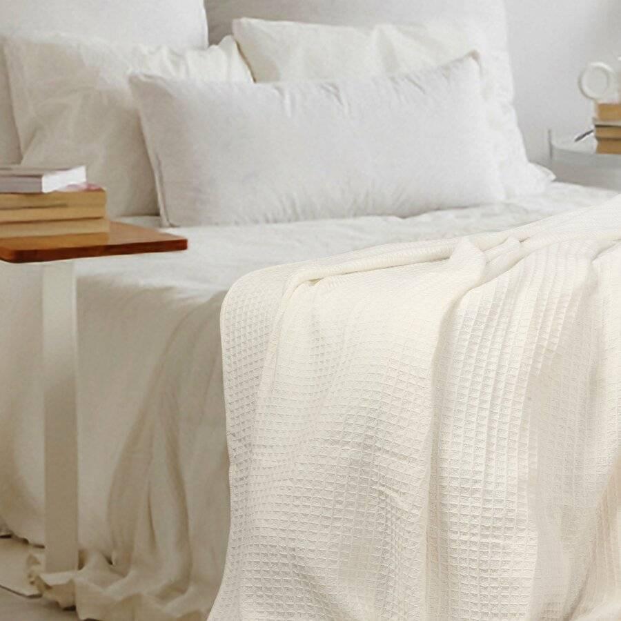 EHC Soft Chunky Cotton Waffle Single Throw For Sofa & Bed - Ivory