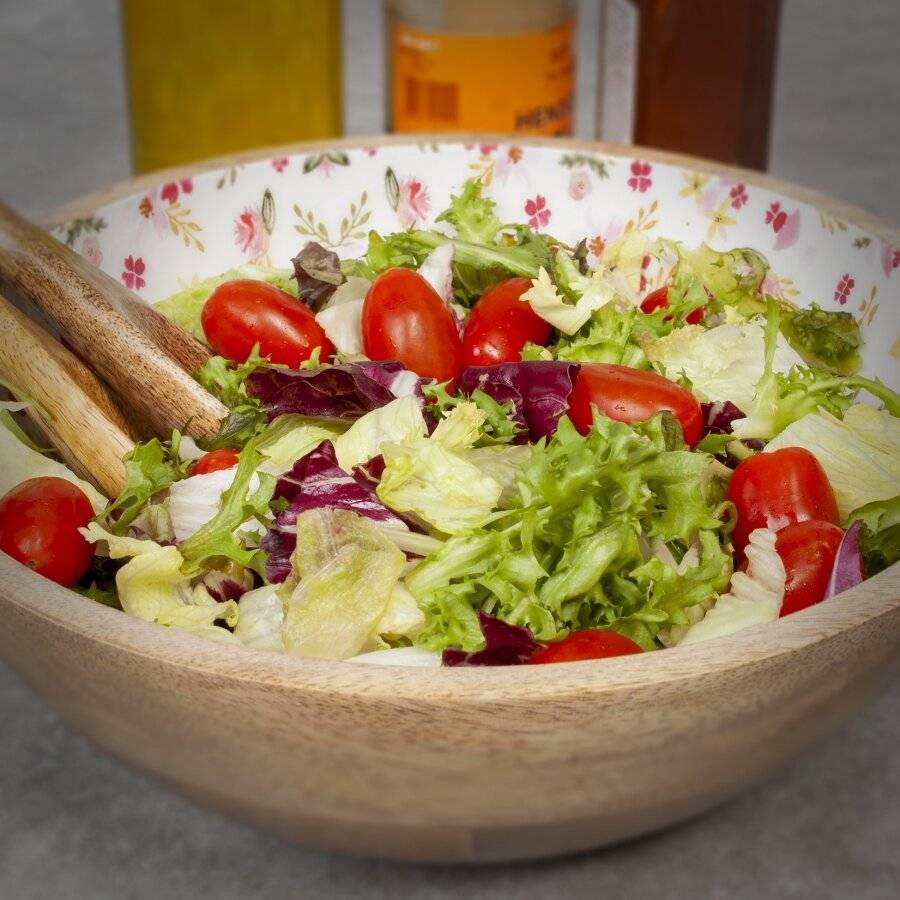 EHC Large Wooden Salad Bowl With two Matching Salad Servers