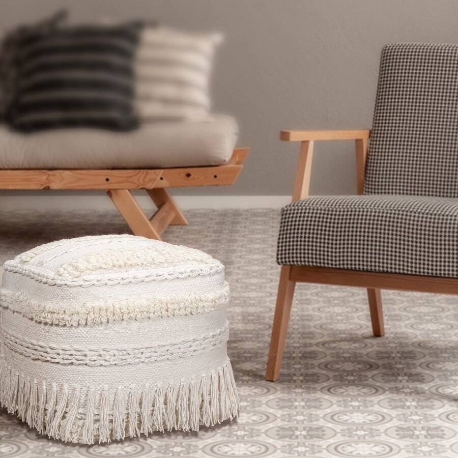 EHC Luxurious Handwoven Home Decorative Pouffe Footstool - Ivory