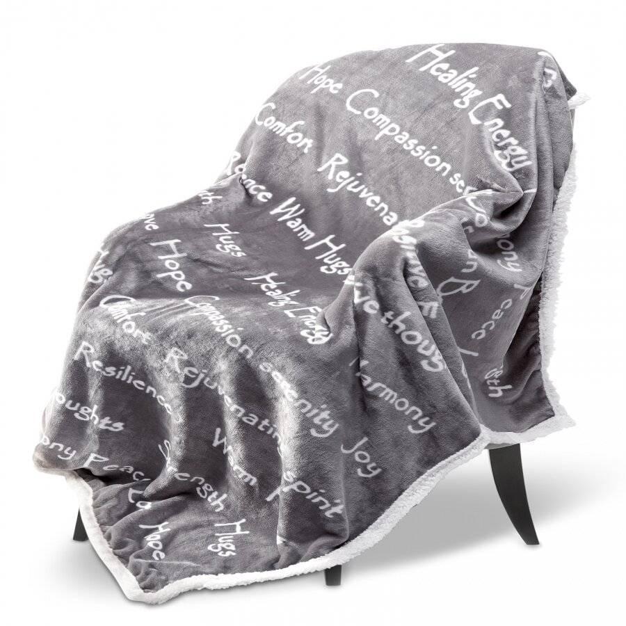 EHC Luxuriously Soft Warm Sherpa Printed Single Blanket - Grey