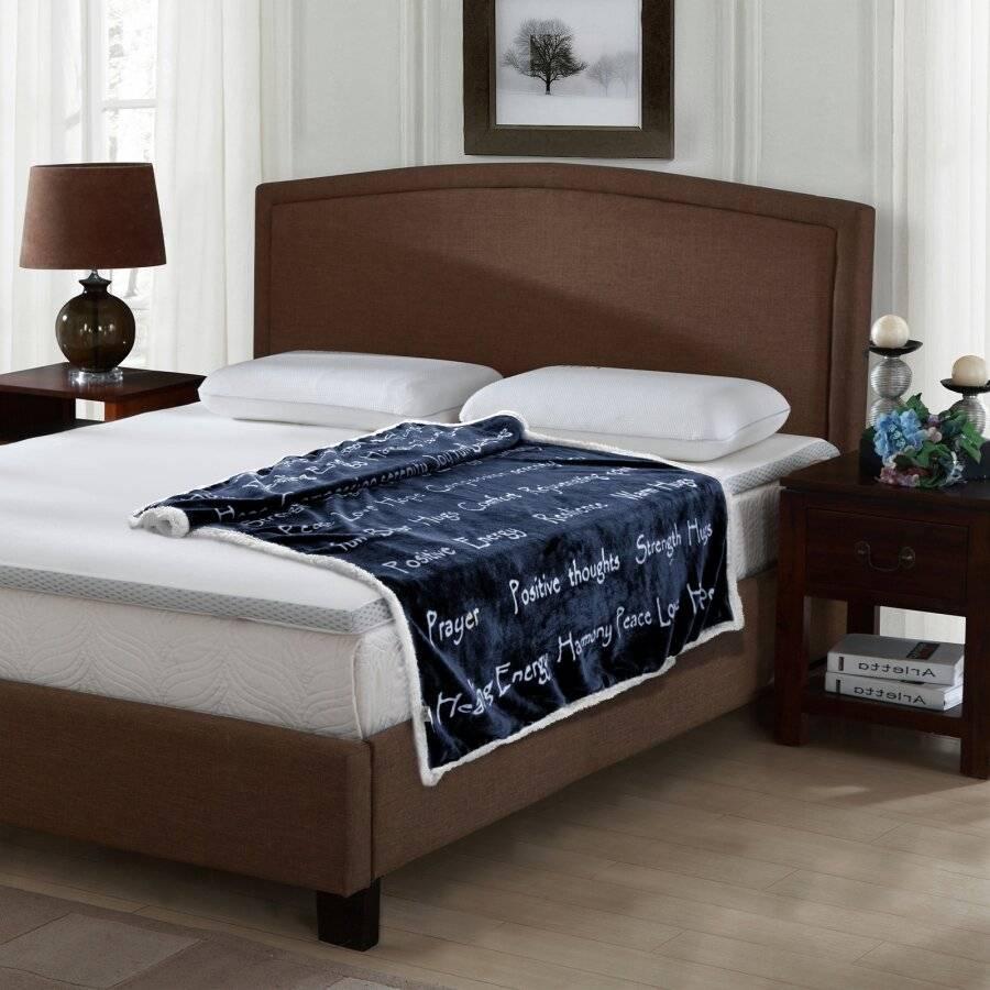 EHC Luxuriously Soft Warm Sherpa Printed Single Blanket - Navy Blue