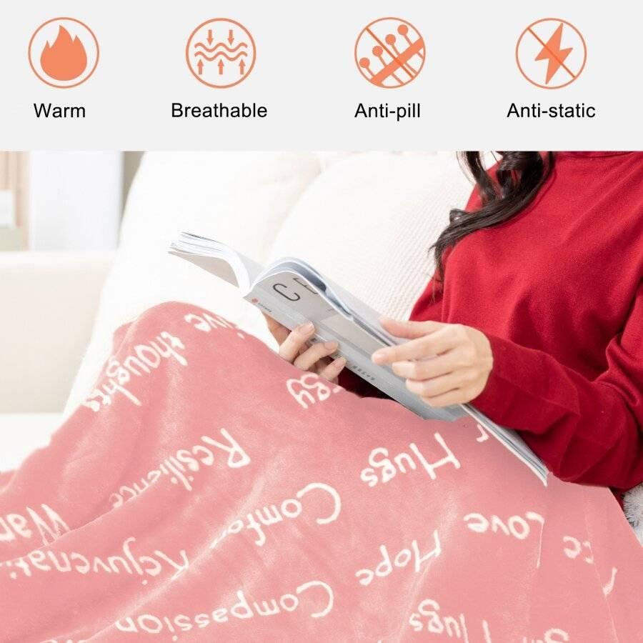 EHC Luxuriously Soft Warm Sherpa Printed Single Blanket - Pink