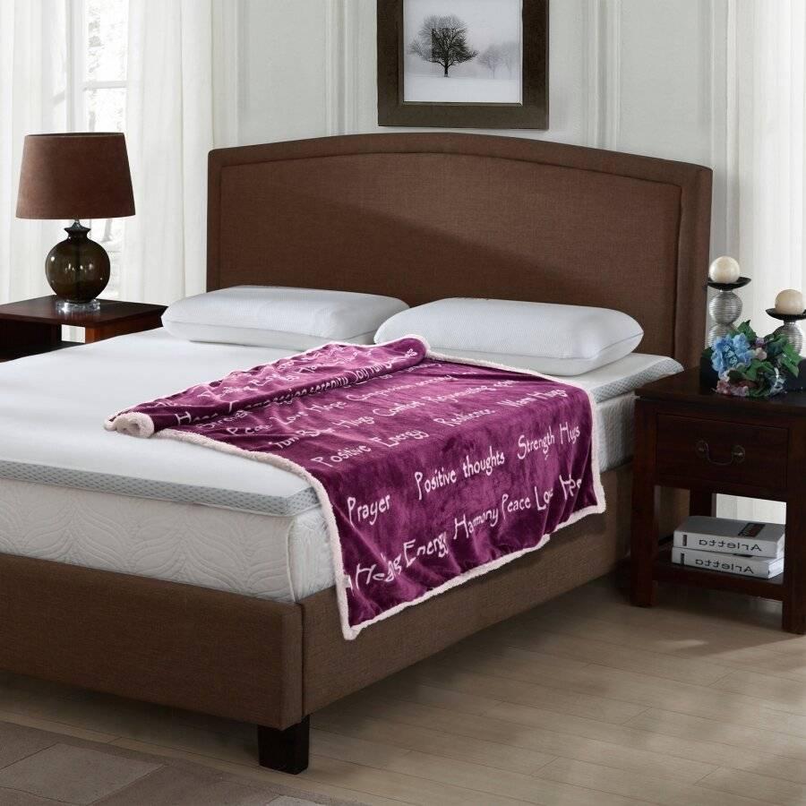 EHC Luxuriously Soft Warm Sherpa Printed Single Blanket - Purple