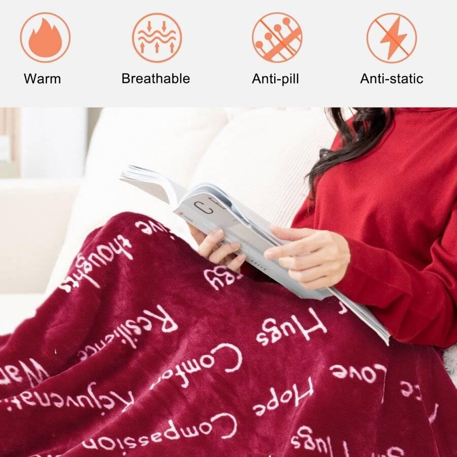 EHC Luxuriously Soft Warm Sherpa Printed Single Blanket - Wine