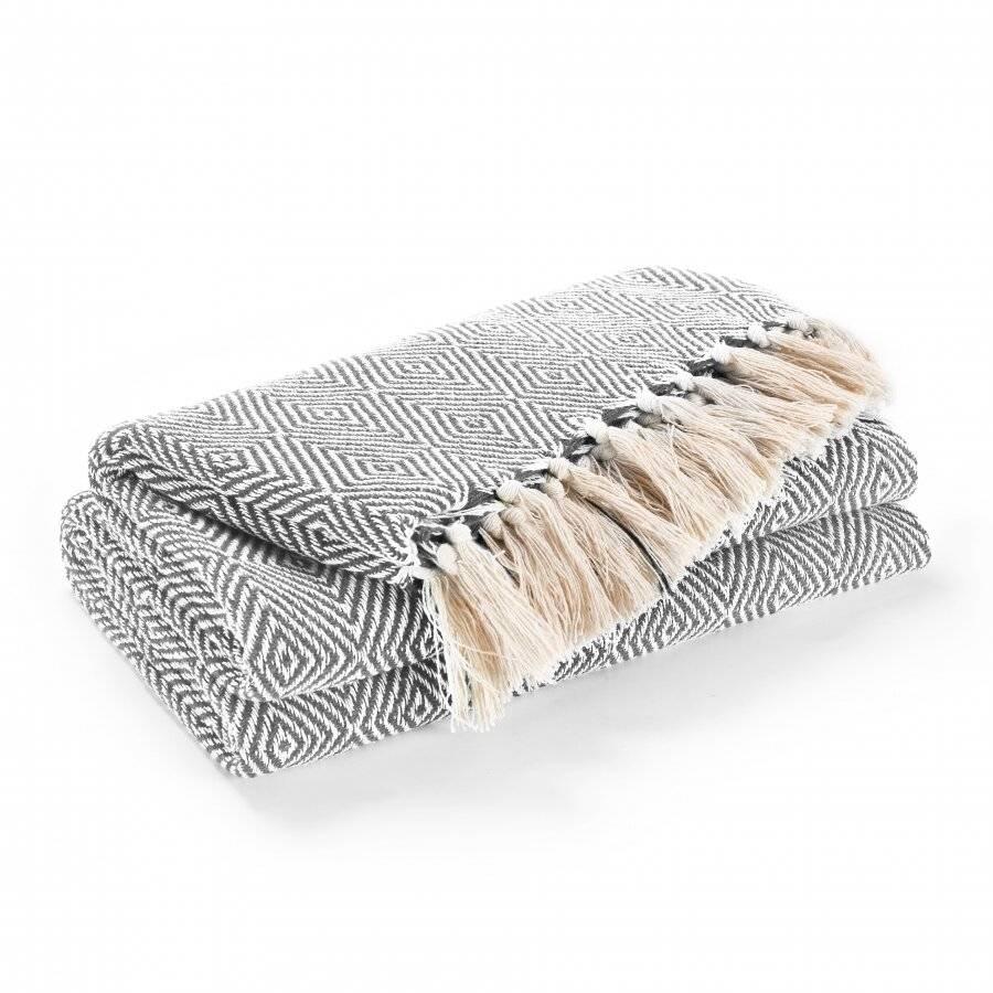 EHC Luxury Super Soft Cotton Diamond Large Throw - Grey, 150 x 200 cm