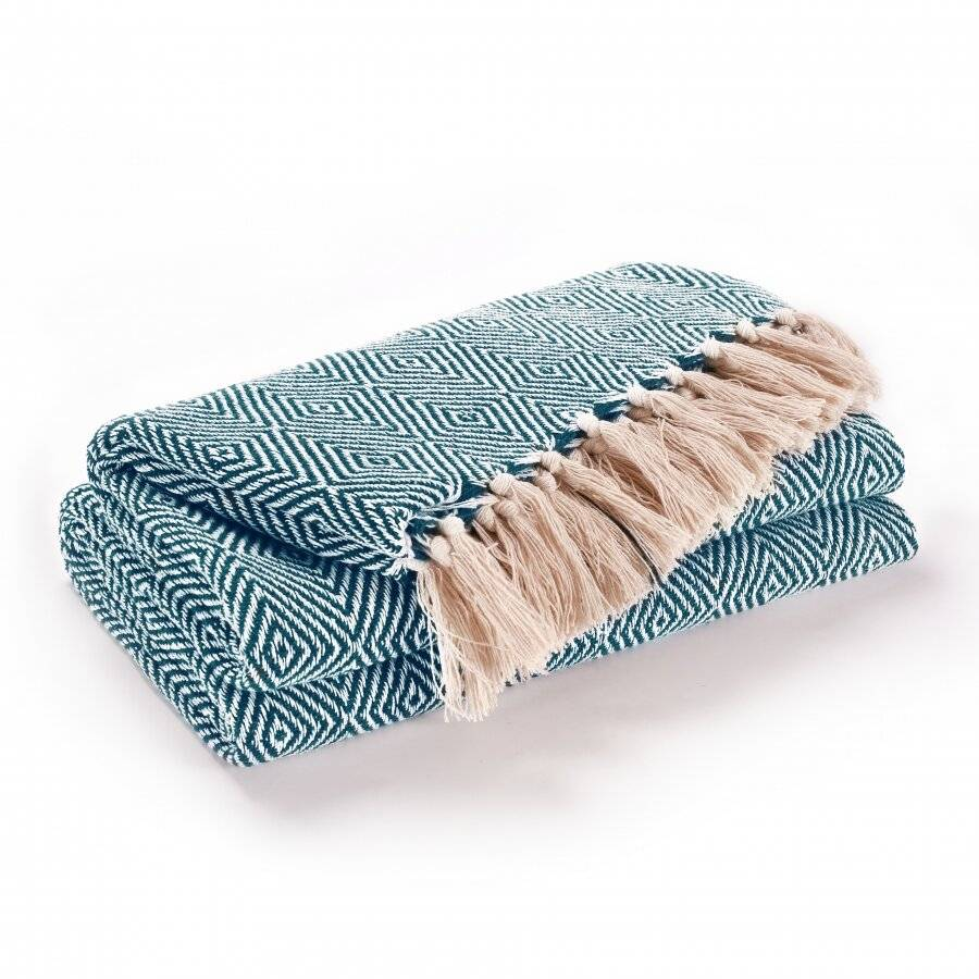 EHC Luxury Cotton Diamond Large Throw - Peacock, 150 x 200 cm
