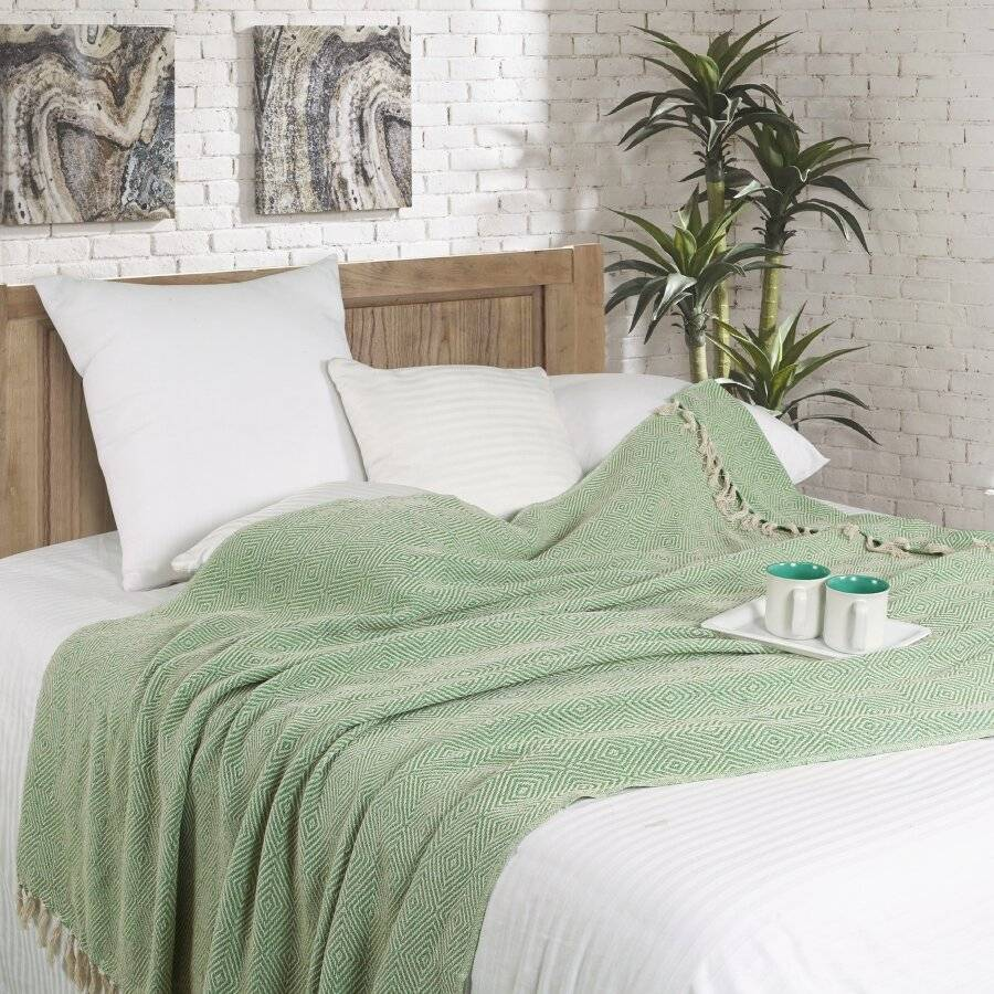 EHC Luxury Super Soft Cotton Diamond Large Throw - Green, 150 x 200 cm