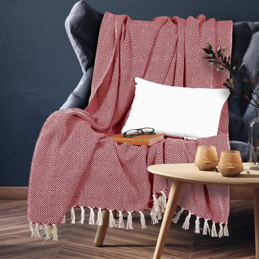 EHC Luxury Super Soft Cotton Diamond Large Throw - Red, 150 x 200 cm