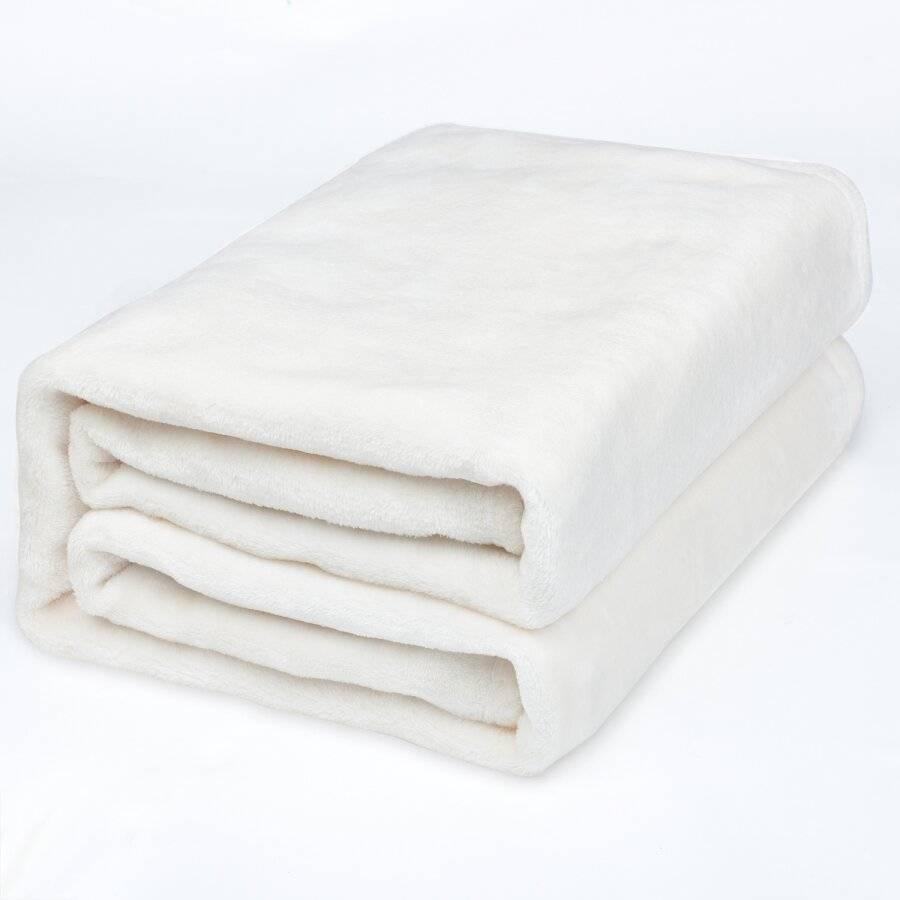 EHC Luxury Super Soft Fluffy Snugly Solid Flannel Fleece Blanket or Sofa Throw, Cream 150cm x 200cm