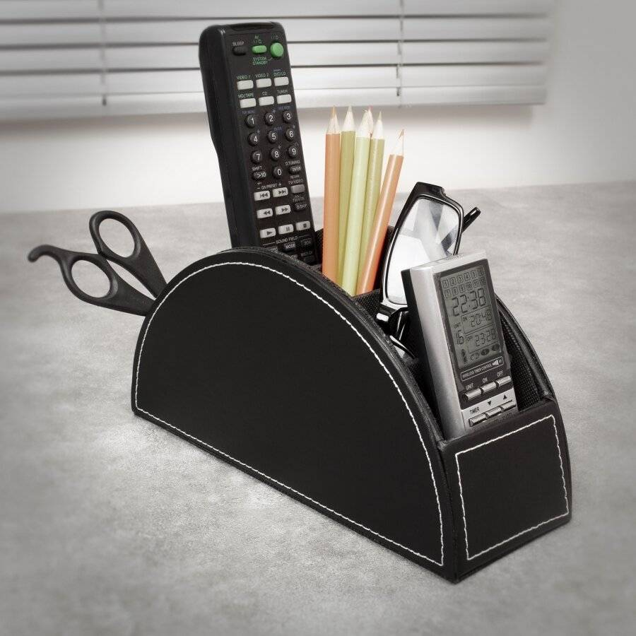 EHC Multifunctional Faux Leather Office Desk /Stationery Unit  - Black