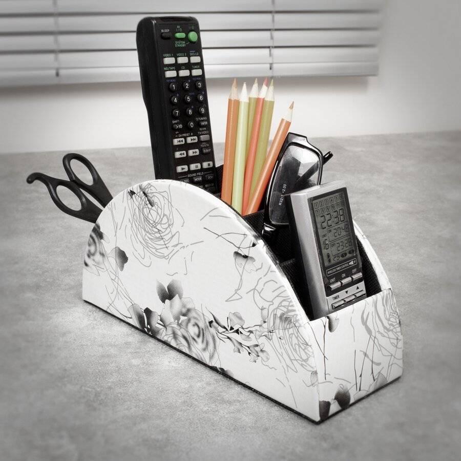 EHC Multifunctional Faux Leather Office Desk/Stationery Unit - White