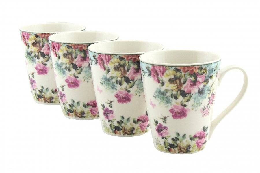 EHC New Bone China Floral Pattern Set of 4 Coffee Mugs - Gift Boxed