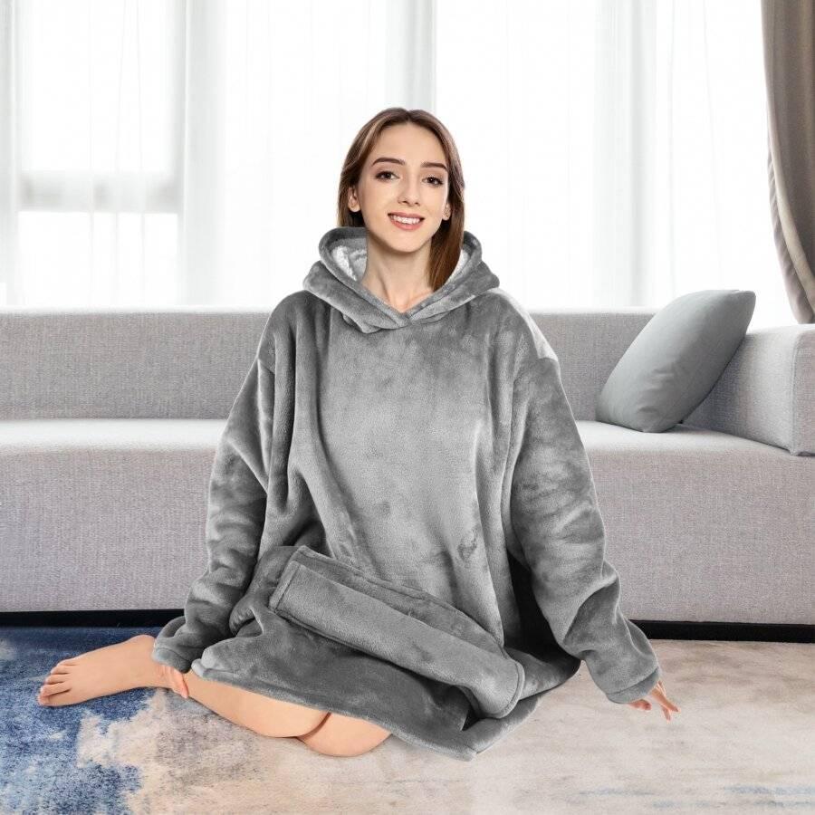 EHC Oversized Microfiber & Sherpa Wearable Blanket - Grey