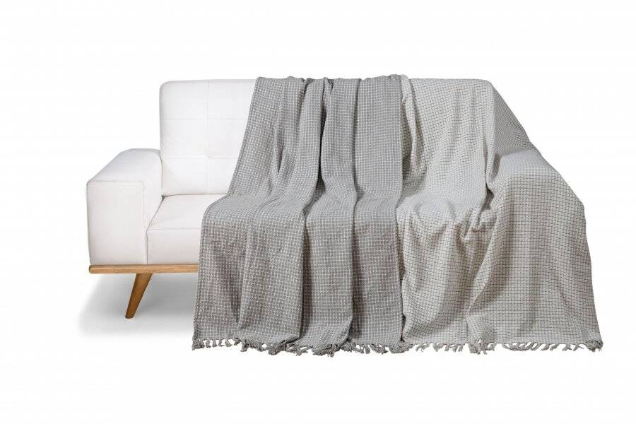 Pack of 2 Dot Check Throws for Sofa Settee Chair Blanket-Grey