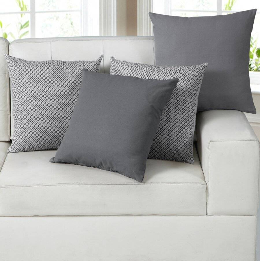 EHC 4 Cotton Cushion Covers/Pillow Case for Sofa 45 x 45 cm, Grey