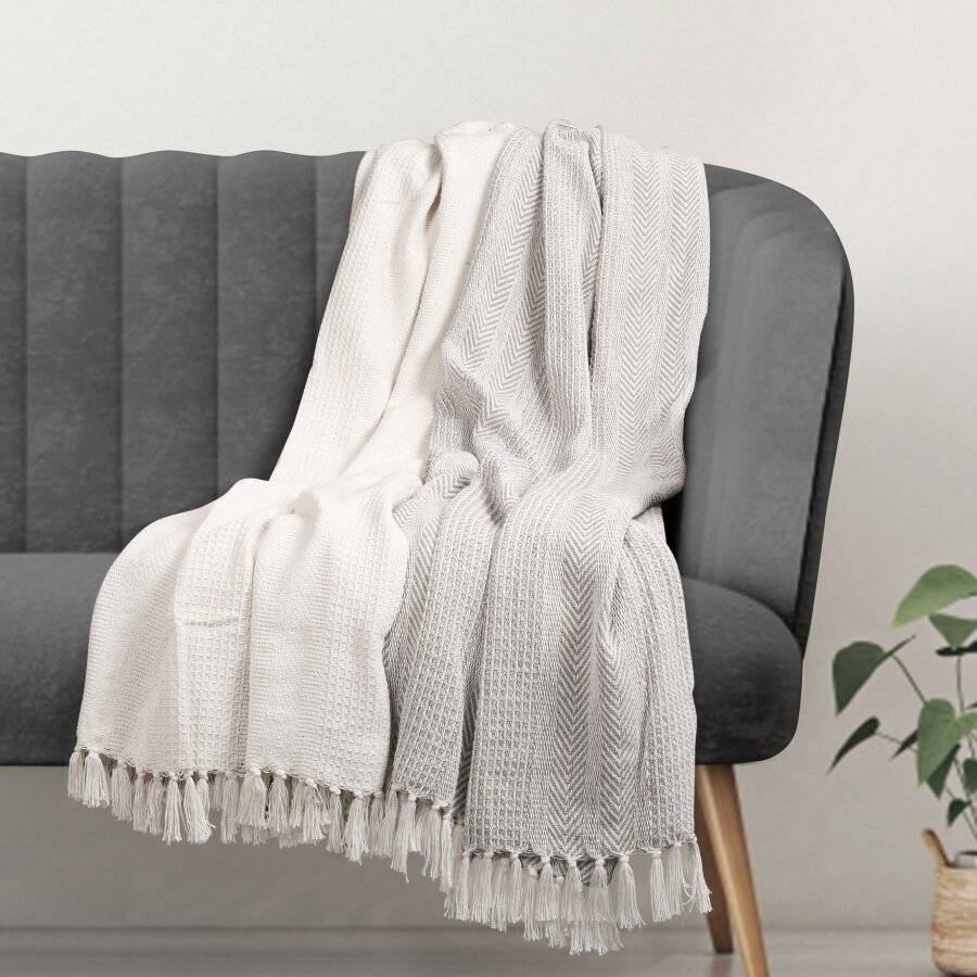 Premium Pack of 2 Cross-Stitch Throws for Sofa / Chair Blanket - Grey / Ivory