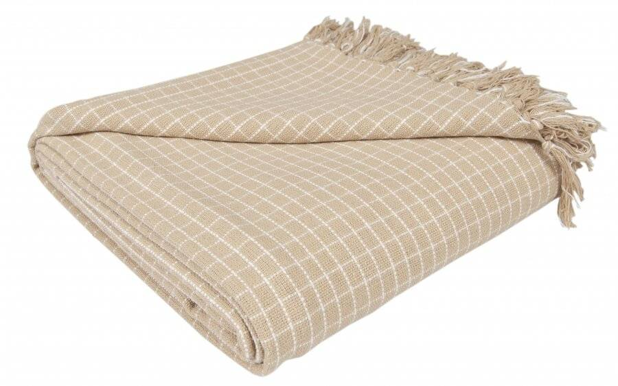 EHC Reversible Super Soft Divine Check Cotton Fringe KIng Size Throw
