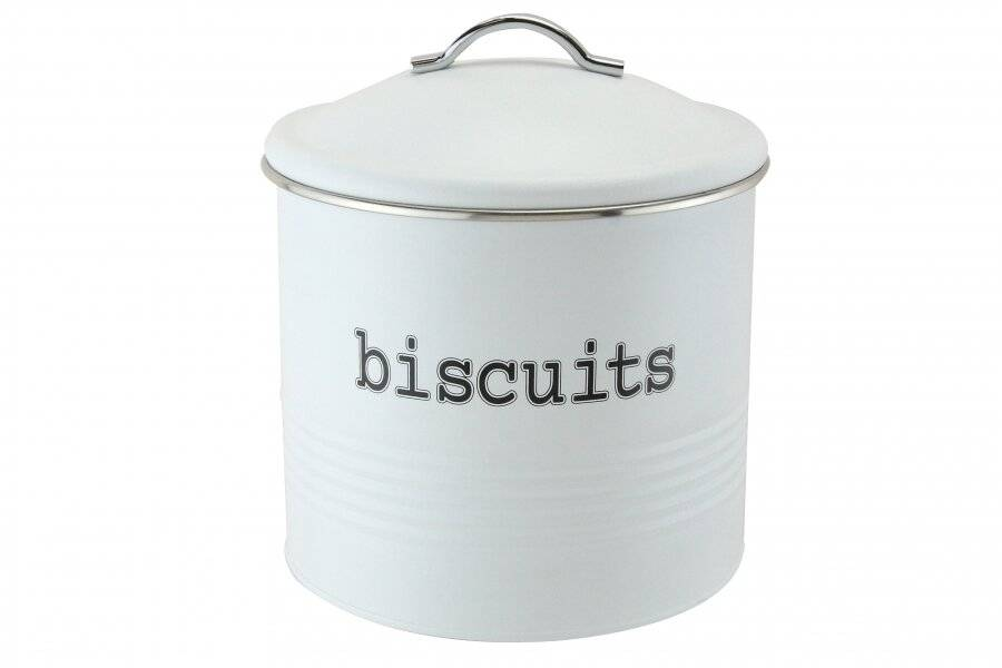 EHC Round Airtight Seal Cookie / Biscuit Storage Canister Jar, White