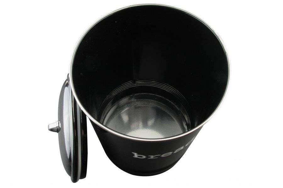 Round Black Enamel Bread Bin Crock Storage Canister Jar, Black