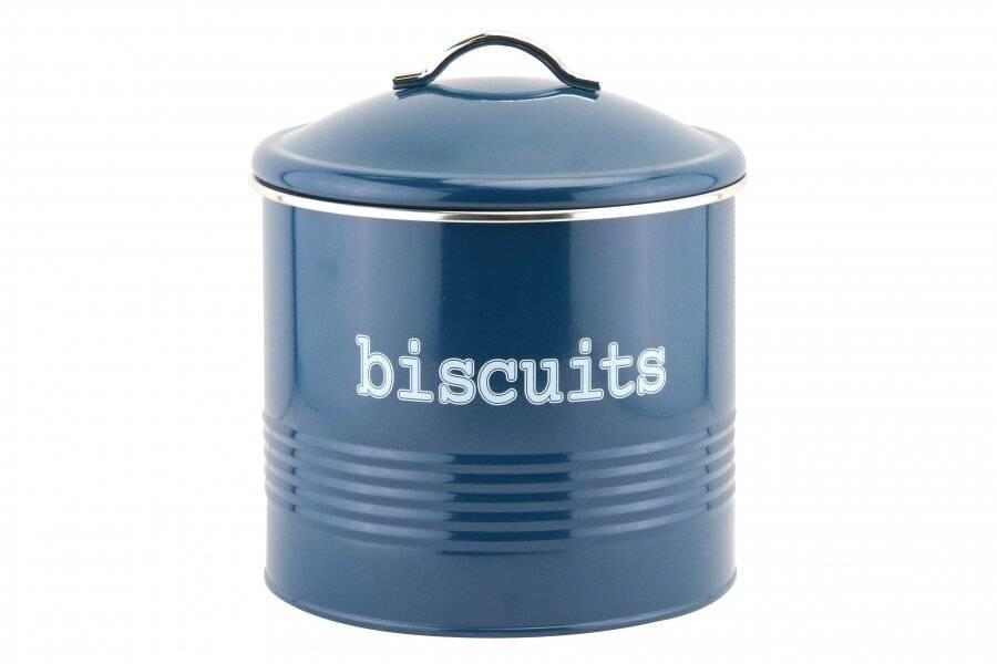 EHC Round Enamel Airtight Cookie/Biscuit Storage Jar - Azzurri Blue
