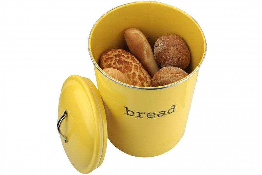 EHC Round Enamel Bread Storage Container - Custard
