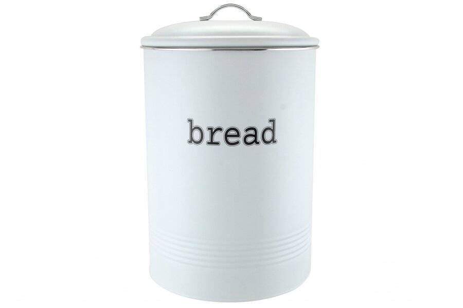 EHC Round White Enamel Bread Storage Container