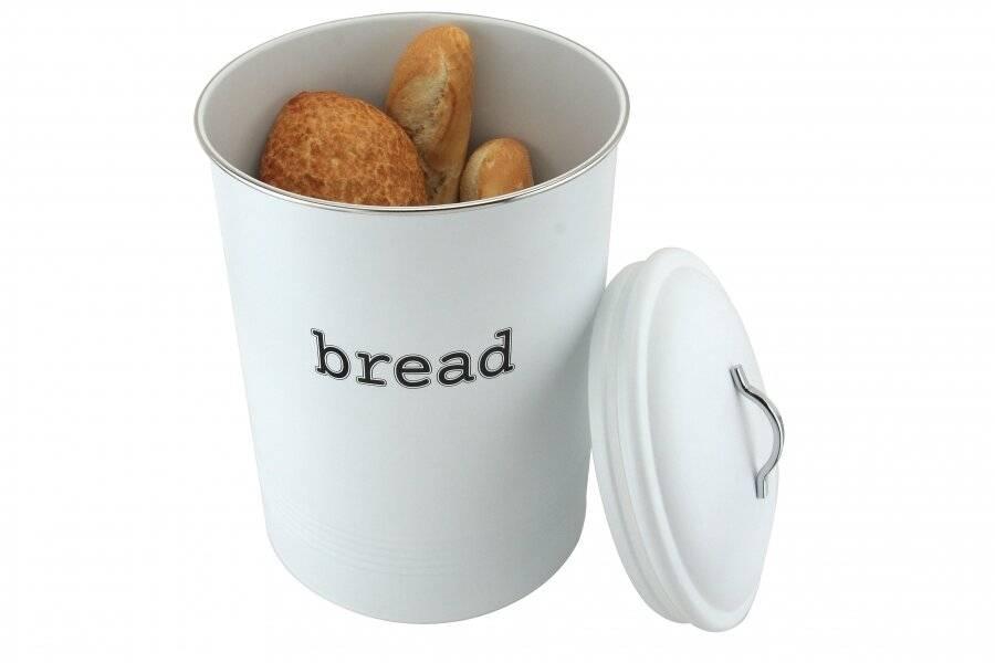EHC Round White Enamel Bread Storage Container