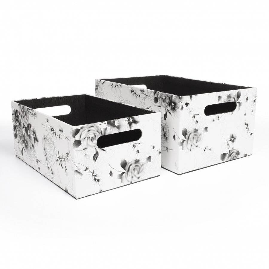 EHC Set of 2 Floral Print Faux Leather Baskets With Carry Handles
