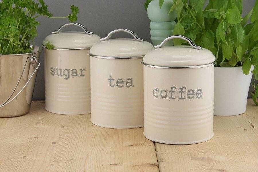 EHC Set of 3 Airtight Tea, Sugar and Coffee Storage Canisters - Cream