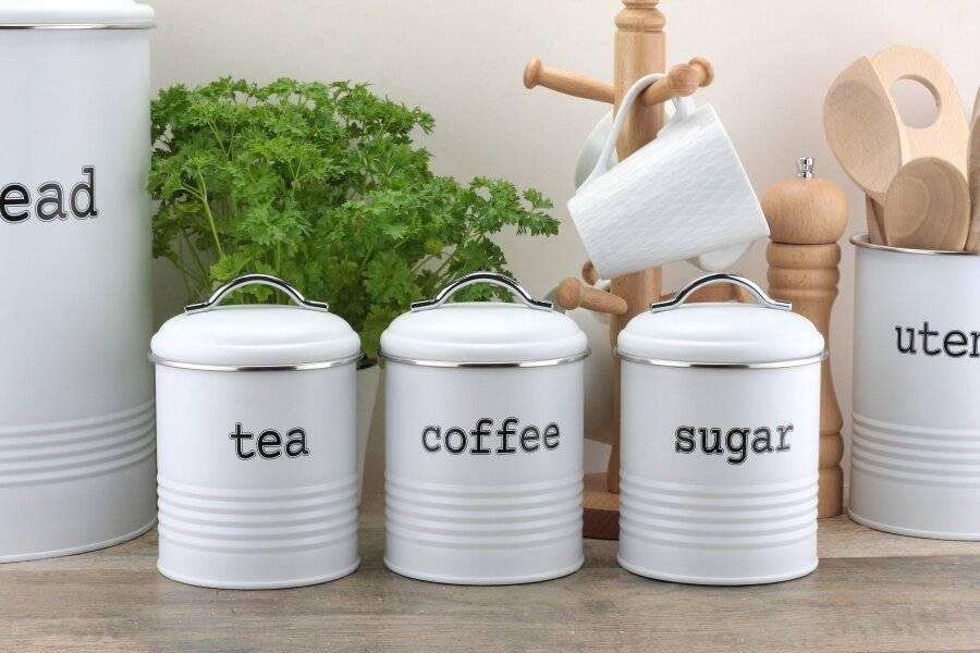 EHC Set of 3 Airtight Tea Sugar & Coffee Storage Jars, White