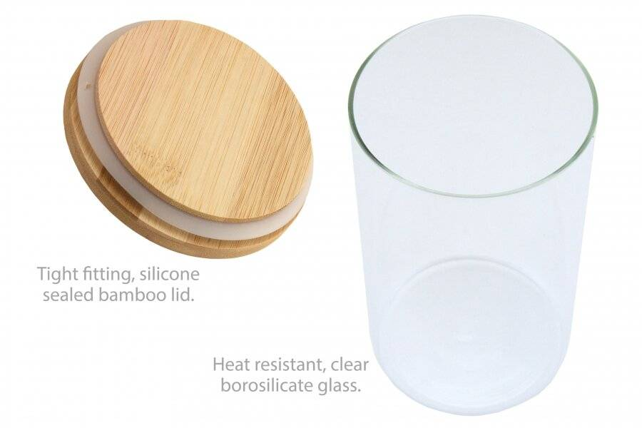 EHC Set of 3 Borosilicate Airtight Stackable Container With Bamboo Lid