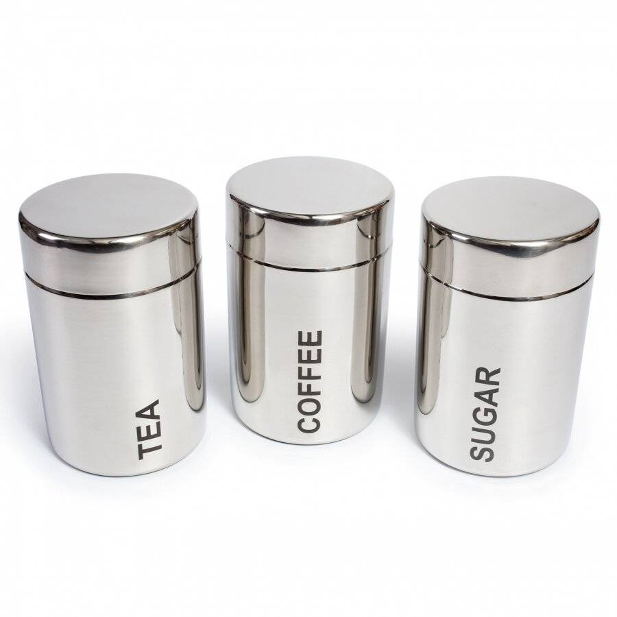EHC Set of 3 Stainless Steel Tea, Coffee & Sugar Jars - Silver