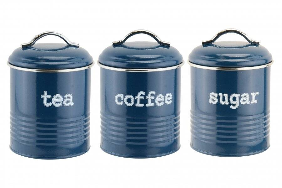 EHC Set of 3 Tea, Coffee & Sugar Kitchen Storage Containers - Blue