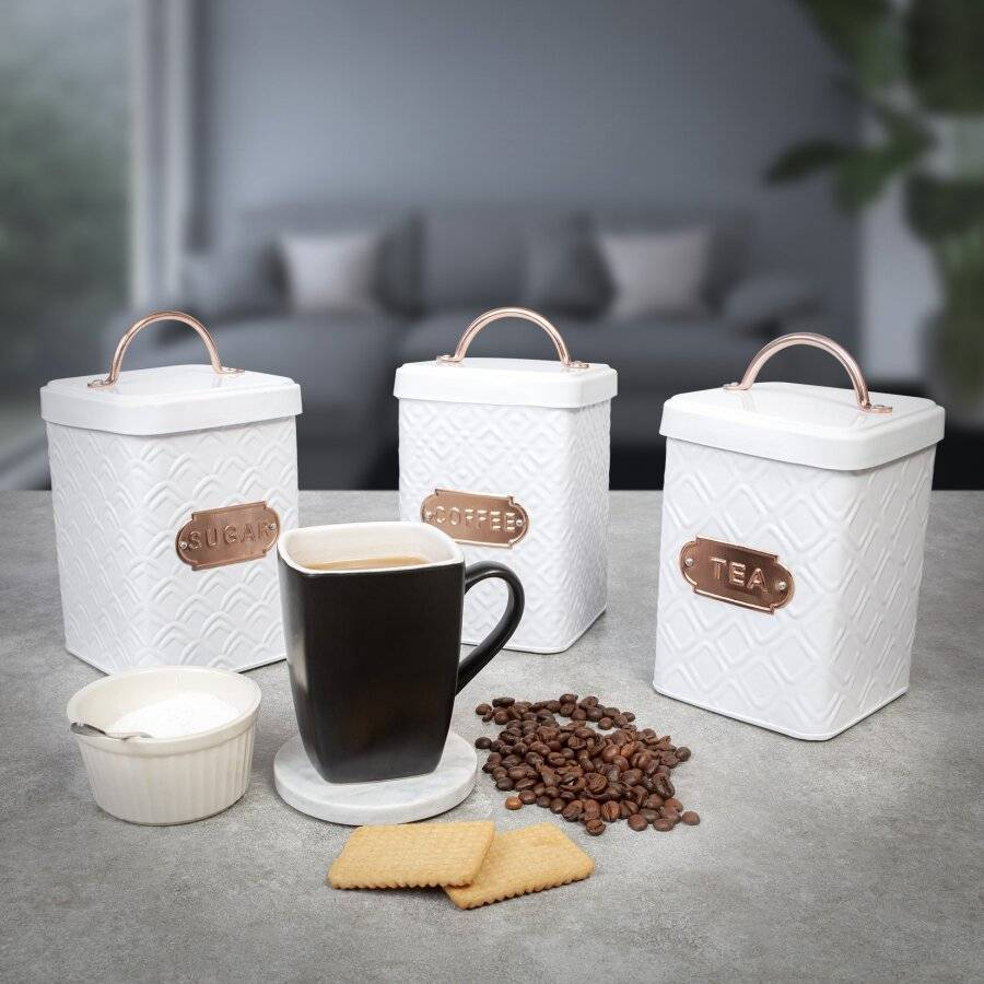 EHC Set of 3 Tea, Coffee & Sugar Kitchen Storage Containers