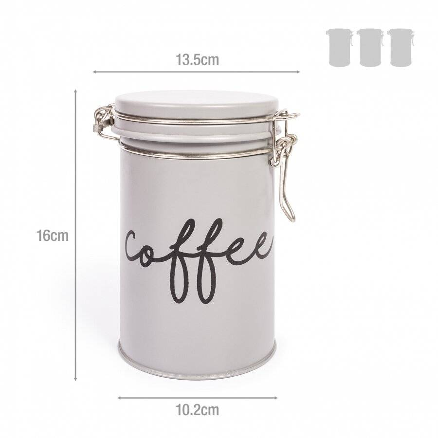 EHC Set of 3 Tea, Coffee and Sugar Storage Canisters - Grey
