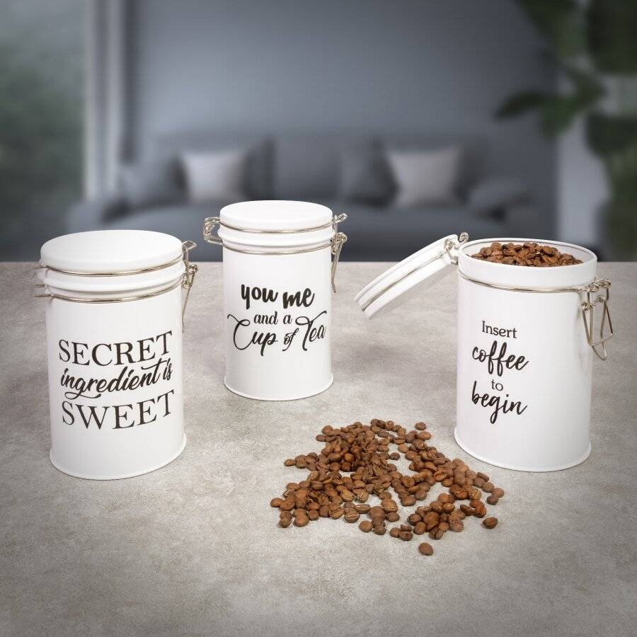 EHC Set of 3 Tea, Coffee and Sugar Storage Canisters Jars - White