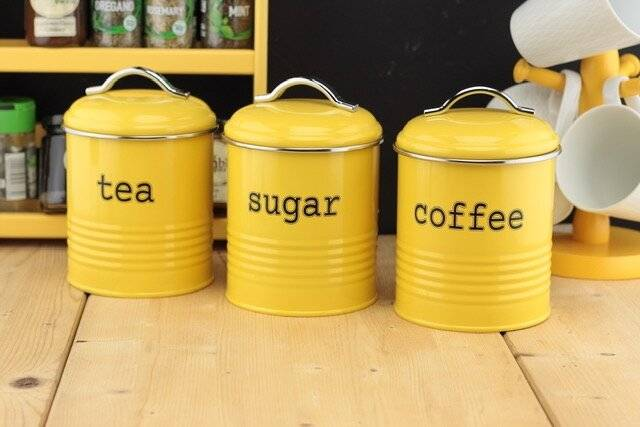 EHC Set of 3 Tea, Sugar & Coffee Storage Canisters - Custard