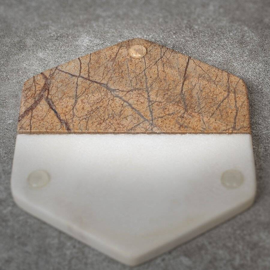 EHC Set of 4 Hexagon Brown & Cream Marble Coasters For Home & Kitchen
